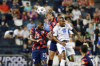 KANSAS CITY, KS - JULY 15: Walker Zimmerman #5 of the United States wins the header during a game between Martinique and USMNT at Children's Mercy Park on July 15, 2021 in Kansas City, Kansas.