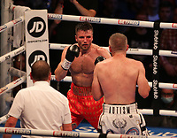 9th October 2021; M&S Bank Arena, Liverpool, England; Matchroom Boxing, Liam Smith versus Anthony Fowler; LIAM SMITH (Liverpool, England)and ANTHONY FOWLER (Liverpool, England) during their WBA International Super-Welterweight Title contest