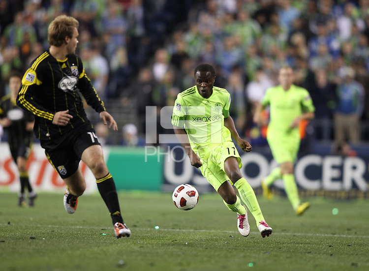 Steve Zakuani (11)of the Seattle Sounders FC runs with the ball. The Seattle Sounders FC defeated the Columbus Crew 2-1 during the US Open Cup Final at Qwest Field in Seattle,WA, on October 5, 2010.
