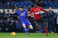 Cardiff City manager Neil Warnock watches on as Lee Tomlin of Cardiff City is marked by Dominic Iorfa of Ipswich during the Sky Bet Championship match between Cardiff City and Ipswich Town at The Cardiff City Stadium, Cardiff, Wales, UK. Tuesday 31 October 2017