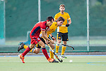 Mannheim, Germany, October 25: During the 1. Bundesliga men fieldhockey match between Mannheimer HC (red) and Harvestehuder THC (yellow) on October 25, 2020 at Am Neckarkanal in Mannheim, Germany. Final score 6-4 (HT 2-3). (Copyright Dirk Markgraf / www.265-images.com) *** Dan Nguyen Luong #22 of Mannheimer HC, Tobias Hauke #13 of Harvestehuder THC