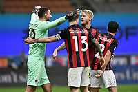 Milan players celebrate the victory at the end of the Serie A football match between FC Internazionale and AC Milan at stadio San Siro in Milano (Italy), October 17th, 2020. Photo Image Sport / Insidefoto