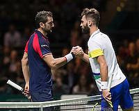 ABN AMRO World Tennis Tournament, Rotterdam, The Netherlands, 14 februari, 2017, Benoit Paire (FRA), Marin Cilic (CRO)<br /> Photo: Henk Koster