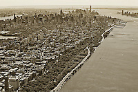 aerial photograph Hudson River, Riverside Park, Henry Hudson Parkway, West Side Highway, Manhattan, New York City