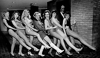 1984 FILE PHOTO - ARCHIVES -<br /> <br /> They get a kick out of it; Seven beauties strut their stuff at Molson Breweries yesterday; in an effort to get into a Miss Legs of Canada Pageant and a Toronto Calendar Girl Pageant during a motorcycle show at the International Centre in January. From left are Cynthia Grant; 19. Lisa Hutchinson; 19; Lorrie Howe; 23; Adrienne Stewart; 27; Lynda Palmer; 23; Joanne Lowe; 20; and Diane Gadzala; 22.<br /> <br /> 1984<br /> <br /> PHOTO :  Erin Comb - Toronto Star Archives - AQP