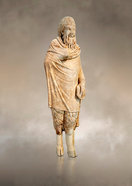 Marble statue of Pan found in Sparta, Pelopenese, 1st Cent AD copy of 4th Cent BC Greek original. Athens Archaeological Museum Cat No 252.<br /> <br /> Pan, the goat footed god wears an animal pelt from which protrude only his jhairy legs. In his left hand he is holding pan pipes. The expression on his bestial featured face is softened by a broad smile.