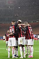 Rafael Leao of AC Milan celebrates after a goal <br /> Serie A football match between AC Milan and Spezia Calcio at San Siro Stadium in Milano  (Italy), October 4th, 2020. Photo Image Sport / Insidefoto