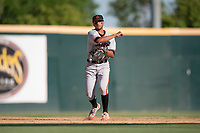 San Jose Giants shortstop Brandon Van Horn (9) makes a throw to first base during a California League game against the Modesto Nuts at John Thurman Field on May 9, 2018 in Modesto, California. San Jose defeated Modesto 9-5. (Zachary Lucy/Four Seam Images)