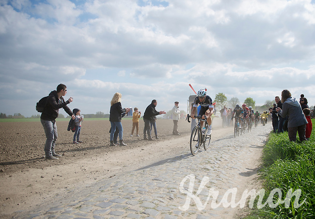 Tom Boonen (BEL/OPQS) trying to outrun the others in the break<br /> <br /> Paris-Roubaix 2014