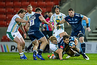20th November 2020; AJ Bell Stadium, Salford, Lancashire, England; English Premiership Rugby, Sale Sharks versus Northampton Saints; Rohan Janse van Rensburg of Sale Sharks is tackled by David Ribbans of Northampton Saints
