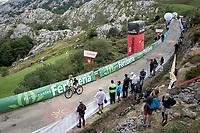 at the finish after climbing the extremely brutal Alto de los Machucos <br /> <br /> Stage 13: Bilbao to Los Machucos / Monumento Vaca Pasiega (166km)<br /> La Vuelta 2019<br /> <br /> ©kramon
