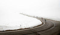 coming over the Passo Giau<br /> <br /> due to the bad weather conditions the stage was shortened (on the raceday) to 153km and the Passo Giau became this years Cima Coppi (highest point of the Giro).<br /> <br /> 104th Giro d'Italia 2021 (2.UWT)<br /> Stage 16 from Sacile to Cortina d'Ampezzo (shortened from 212km to 153km)<br /> <br /> ©kramon