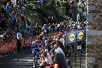 Maximilian Schachmann (GER/Quick Step Floors) in service of Julian Alaphilippe (FRA/Quick Step Floors) up the final 150m of the infamous Mur de Huy.<br /> <br /> 82nd La Flèche Wallonne 2018<br /> 1 Day Race: Seraing - Huy (198,5km)