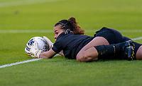 HOUSTON, TX - JANUARY 31: Noelia Bermudez #1 of Costa Rica looks to the referee as she tried to save the ball from going out of bounds during a game between Haiti and Costa Rica at BBVA Stadium on January 31, 2020 in Houston, Texas.