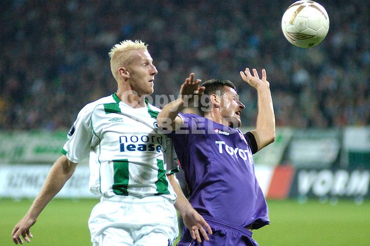 groningen, euroborg   fc groningen - fiorentina  uefa cup seizoen 2007-2008 20-9-2007 meerdink in kopduel