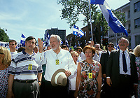 Montreal (Qc) CANADA -1993  File Photo -<br /> <br /> Lucien Bouchard, Leader Bloc Quebecois on Quebec National Holliday Parade
