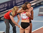 Wales' Rachel Johncock, left, and Wales Mica Moore after the 4x100m relay round 1 - heat 2<br /> <br /> Photographer Chris Vaughan/Sportingwales<br /> <br /> 20th Commonwealth Games - Day 9 - Friday 1st August 2014 - Athletics - Hampden Park - Glasgow - UK