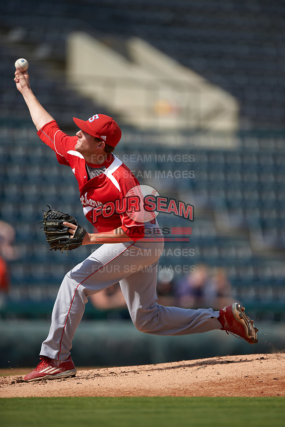 Florida Southern Moccasins relief pitcher Craig Savage (45) delivers a pitch during an exhibition game against the Detroit Tigers on February 29, 2016 at Joker Marchant Stadium in Lakeland, Florida.  Detroit defeated Florida Southern 7-2.  (Mike Janes/Four Seam Images)