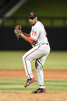 Scottsdale Scorpions pitcher Nefi Ogando (25) during an Arizona Fall League game against the Salt River Rafters on October 8, 2014 at Salt River Fields at Talking Stick in Scottsdale, Arizona.  Scottsdale defeated Salt River 7-4.  (Mike Janes/Four Seam Images)