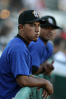 Baudillo Lopez of the Rancho Cucamonga Quakes during game against the Inland Empire 66'ers at The Epicenter in Rancho Cucamonga,California on August 7, 2010. Photo by Larry Goren/Four Seam Images