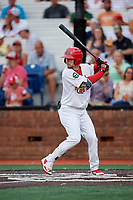 Johnson City Cardinals left fielder Brandon Riley (32) at bat during a game against the Danville Braves on July 28, 2018 at TVA Credit Union Ballpark in Johnson City, Tennessee.  Danville defeated Johnson City 7-4.  (Mike Janes/Four Seam Images)