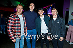 Enjoying the evening in Scotts Hotel in Killarney on Saturday, l to r: Owen McCormack, Sam Holland, Paul Nolan (Killarney) and Scott Veldon.