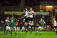 ATTENTION SPORTS PICTURE DESK<br /> Pictured: Federico Bessone and Alan Tate of Swansea City in action <br /> Re: Coca Cola Championship, Swansea City Football Club v Plymouth Argyle at the Liberty Stadium, Swansea, south Wales. Tuesday 08 December 2009