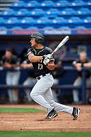 Army West Point Anfernee Crompton (13) hits an RBI double in the top of the ninth inning during a game against the Michigan Wolverines on February 18, 2018 at First Data Field in St. Lucie, Florida.  Michigan defeated Army 7-3.  (Mike Janes/Four Seam Images)