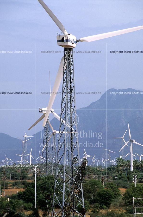 INDIA, Tamil Nadu, Kanyakumari, Cape Comorin, Muppandal, windfarm with Vestas wind turbine on lattice steel tower / INDIEN Kanniyakumari, Kap Komorin, Windpark mit Vestas Windkraftanlagen auf Stahlgittermast