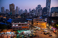India, Maharashtra, Mumbai, Bombay, red light district. Falkland Road at night.