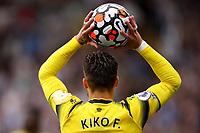 25th September 2021; Vicarge Road, Watford, Herts,  England;  Premier League football, Watford versus Newcastle; Kiko Femenía of Watford takes a throw in