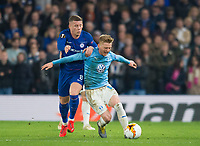 Chelsea's Ross Barkley and Malmo FF Rasmus Bengtsson during the UEFA Europa League match between Chelsea and Malmo at Stamford Bridge, London, England on 21 February 2019. Photo by Andrew Aleksiejczuk / PRiME Media Images.