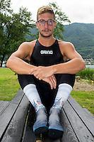 Simone Ruffini e le sue calze personalizzate <br /> Simone Ruffini Open Water 25km world champion in Kazan and his personalized socks<br /> Omegna, Lago D'Orta<br /> FIN 2016 Campionato Italiano Assoluto Nuoto di Fondo <br /> Day 02 11-06-2016<br /> Photo Laura Binda/Deepbluemedia/Insidefoto