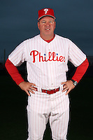 February 24, 2010:  Coach Rich Dubee (30) of the Philadelphia Phillies poses during photo day at Bright House Field in Clearwater, FL.  Photo By Mike Janes/Four Seam Images
