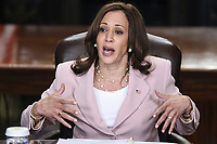 U.S. Vice President Kamala Harris speaks while meeting with disabilities advocates in the Vice President's Ceremonial Office in Washington, D.C., U.S., on Wednesday, July 14, 2021. Harris yesterday met with Texas House Democrats after they fled Austin to forestall passage there of a law that would put new voting restrictions in place. <br /> CAP/MPI/RS<br /> ©RS/MPI/Capital Pictures