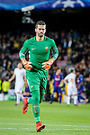 Goalkeeper Alisson Becker of AS Roma reacts during the UEFA Champions League 2017-18 quarter-finals (1st leg) match between FC Barcelona and AS Roma at Camp Nou on 05 April 2018 in Barcelona, Spain. Photo by Vicens Gimenez / Power Sport Images