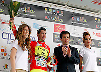 Enrique Sanz (Movistar team) celebrates the second place in the first stage of the Castilla and Leon 2013 Cycling Tour. The first stage of the 28th tour took place from Arevalo (Avila) to Valladolid. April 12, 2013. Valladolid, Spain. (Alterphotos/Victor J Blanco) /NortePhoto