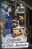 """Europe/France/Bretagne/35/Ille-et-Vilaine/Saint- Malo: Enseigne de la crèperie """"Le Petit Malouin"""""""
