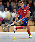 GER - Mannheim, Germany, November 28: During the 1. Bundesliga Sued Herren indoor hockey match between Mannheimer HC (red) and TG Frankenthal (white) on November 28, 2015 at Irma-Roechling-Halle in Mannheim, Germany. Final score 7-7 (HT 3-3). (Photo by Dirk Markgraf / www.265-images.com) *** Local caption *** Florian Woesch #25 of Mannheimer HC