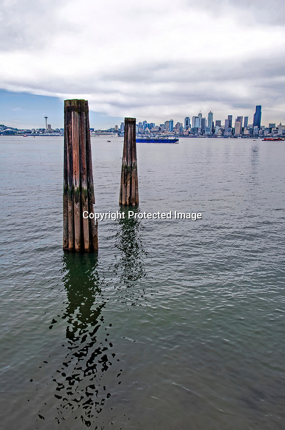 A split day between blue and overcast skies in Seattle, seen from West Seattle, Washington State.