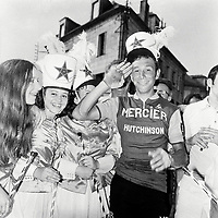 17/7/1969 Tour de France 1969.<br /> Stage 19 - LIBOURNE to BRIVE.<br /> Barry Hoban celebrates his stage win with the podium girls.<br /> Photo: Offside / L'Equipe. COPYRIGHT WARNING : THIS IMAGE IS RIGHTS MANAGED AND THE COPYRIGHT MAY SIT WITH A THIRD PARTY PLEASE CONTACT simon@swpix.com BEFORE DOWNLOAD AND OR USE
