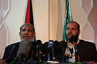 "Senior Hamas leader Mahmud Zahar gives a press conference in Gaza City on June 17, 2008. A Gaza Strip truce between Israel and the Islamist Hamas movement will last six months, the Palestinian group announced today. Hamas said that the truce deal envisaged further talks between them, the Palestinian leadership and the European Union to pave the way for the reopening of the Rafah crossing between Gaza and Egypt, the territory's only one that bypasses Israel."" Photo by Thair Alhassany"""