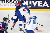 23rd May 2021, Riga Olympic Sports Centre Latvia; 2021 IIHF Ice hockey, Eishockey World Championship, Great Britain versus Slovakia;  7 Mario Grman Slovakia loses balance as he tries to keep possession
