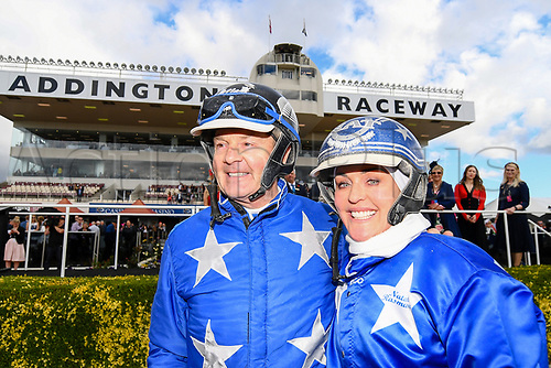10th November 2020; Christchurch, New Zealand;  Trainer Natalie Rasmussen and driver Mark Purdon win with Self Assured  the NZ Trotting Cup at Addington Raceway, Christchurch, New Zealand
