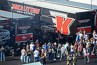Apr. 13, 2012; Concord, NC, USA: NHRA pit area of Doug Kalitta and David Grubnic during qualifying for the Four Wide Nationals at zMax Dragway. Mandatory Credit: Mark J. Rebilas-