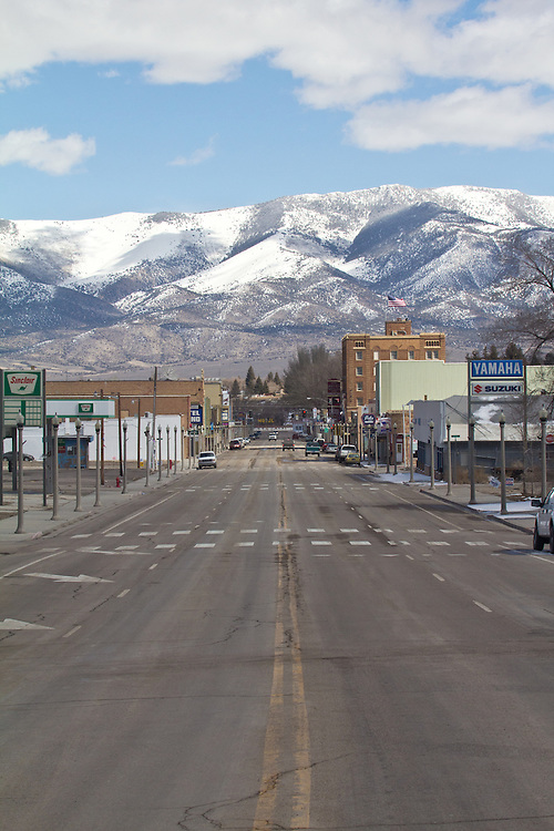 Mining towns, Main Street, USA, Ely, Nevada, the town's economy is dependent on an open pit copper mine operated by Robinson Nevada Mining Company owned by KGHM International which is owned KGHM Polska Mied? S.A,