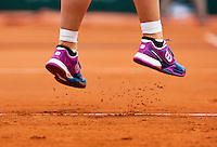 France, Paris , May 26, 2015, Tennis, Roland Garros, Tennis shoes with clay<br /> Photo: Tennisimages/Henk Koster