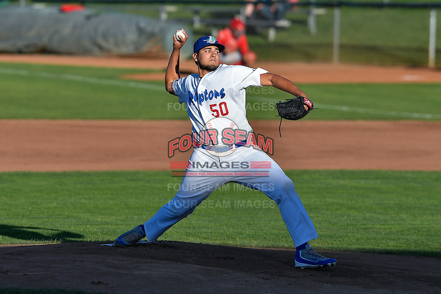 Ogden Raptors starting pitcher Willian Soto (50) delivers a pitch to the plate against the Orem Owlz in Pioneer League action at Lindquist Field on September 9, 2016 in Ogden, Utah. This was Game 1 of the Southern Division playoff. Orem defeated Ogden 6-5. (Stephen Smith/Four Seam Images)