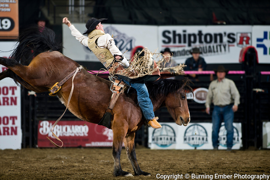 Ty Breuer on Working Girl of Powder River Rodeo at the NILE Rodeo 2nd Perf Oct 18th, 2019.  Photo by Josh Homer/Burning Ember Photography.  Photo credit must be given on all uses.