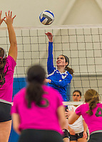 18 October 2015: Yeshiva University Maccabee Outside Hitter, Setter and team co-Captain Shana Wolfstein, a Senior from Burlington, VT, jumps for a kill in the first set against the Sage College Gators, at the Peter Sharp Center, College of Mount Saint Vincent, in Riverdale, NY. The Gators defeated the Maccabees 3-0 in the NCAA Division III Women's Volleyball Skyline matchup. Mandatory Credit: Ed Wolfstein Photo *** RAW (NEF) Image File Available ***